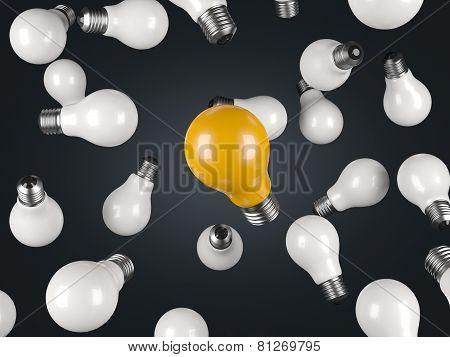 Many White And One Green Lightbulb On White Background