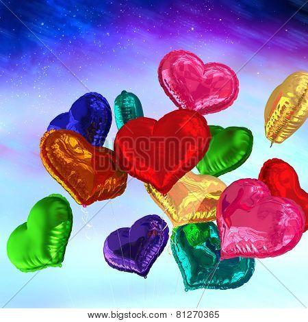 Heart balloons against aurora night sky in purple