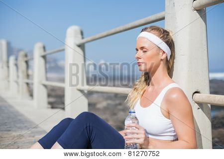 Fit blonde sitting on the pier on a sunny day