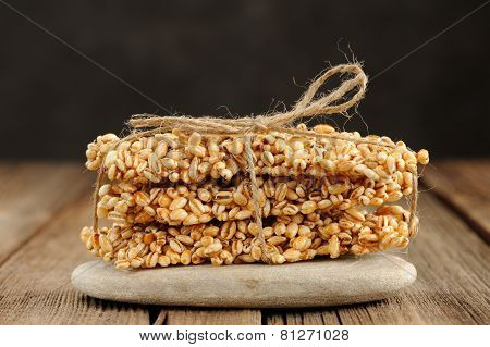 Barley Granola Bars In Pile On Rock Closeup Macro