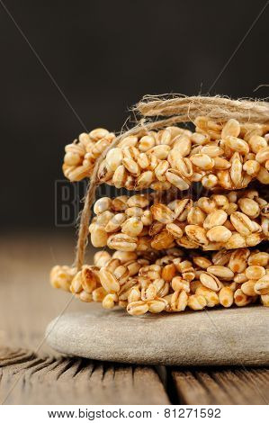 Barley Granola Bars In Pile On Rock