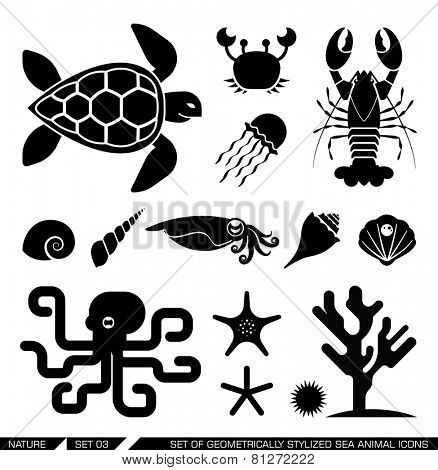 Set of geometrically stylized sea animal icons. Set of various sea animal icons: turtle, crab, lobster octopus, shell, jellyfish, starfish, squid. Vector illustration.