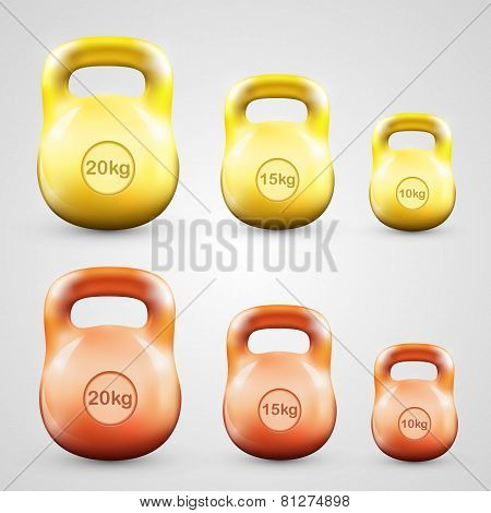 Kettlebell set color. Vector