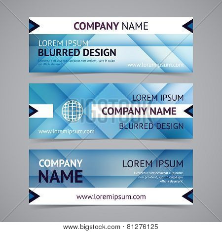 Vector company banners with blurred backgrounds