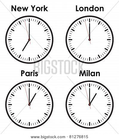 set of time zone clocks