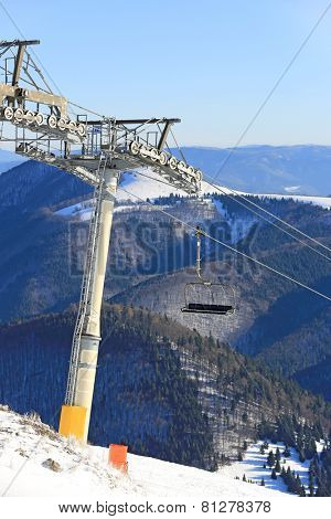 Chairlift on winter resort Donovaly, Slovakia