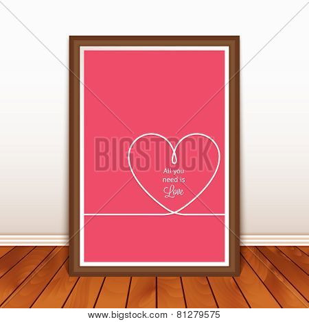 Valentine's poster with heart on wood background