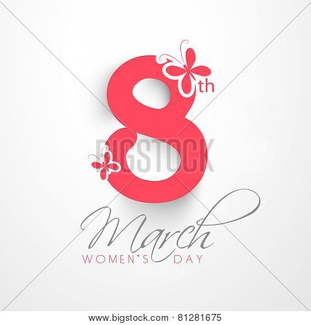 Elegant greeting card design for International Women's Day celebration on shiny background.