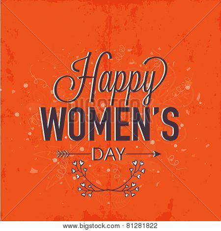 Elegant greeting card design for International Women's Day celebration on grungy orange background.