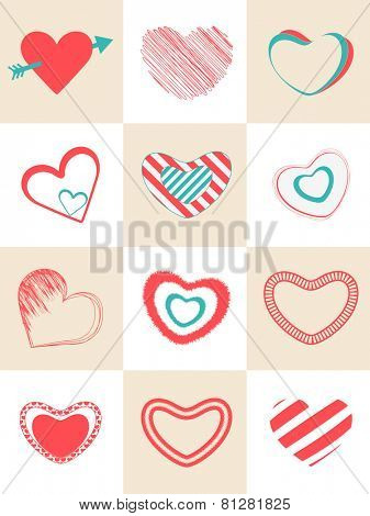 Collection of different hearts shape for Happy Valentines Day celebration.