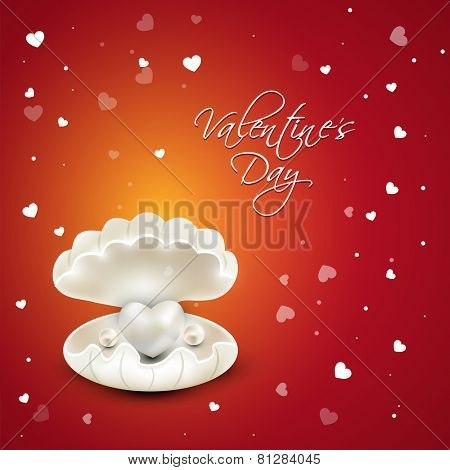 Beautiful glossy heart with pearls in a shell on hearts decorated background for Happy Valentines Day celebration.