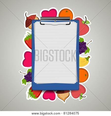 Illustration of a prescription letter pad on fruity background.