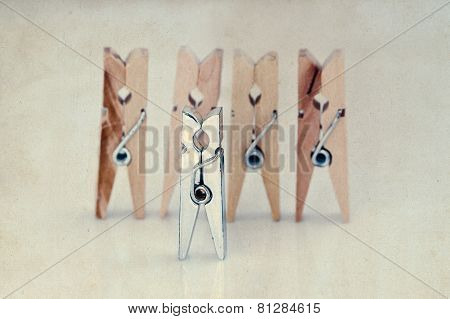 Clothespins. Playground People. Abstract. Opposition. Different Type Of Objects. Vintage Paper Backg