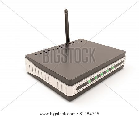 Wireless Router Isolated On White.