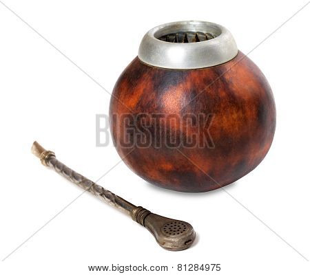 Calabash Gourd And Bombilla On White Background