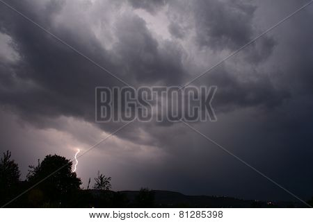 Lightning in the sky