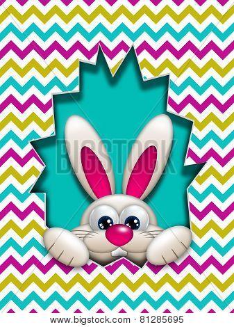 Easter Bunny Hidden In Zigzag Egg Hollow
