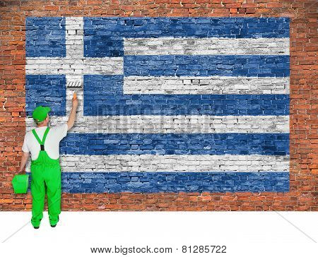 House Painter Paints Flag Of Greece On Brick Wall