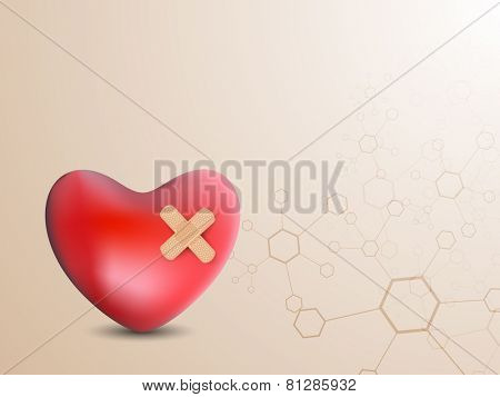 Structure of a red heart with bandage on stylish background.