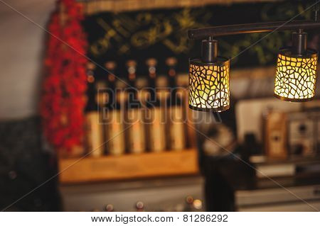 Lamp In The Beautiful Interior Of Restaurant