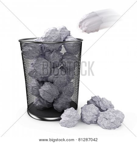 3d office garbage can and paper trash