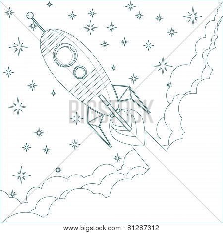 Cartoon Flying Rocket in the Sky with stars.  Contour vector