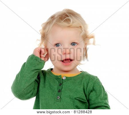 Portrait of a beautiful baby looking at camera isolated on a white background