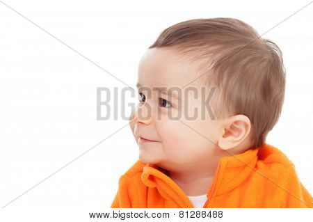Adorable six month baby with looking at side isolated on white background