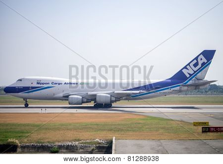 Nippon Cargo Airline Boeing 747-400F Taking Off From Suvarnabhumi Airport