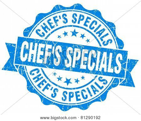 Chef's Specials Blue Grunge Seal Isolated On White
