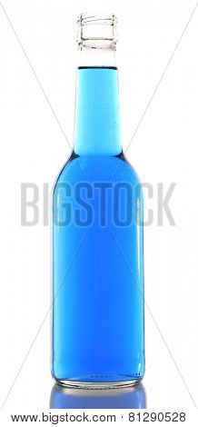 Colorful alcoholic beverage in glass bottle isolated on white