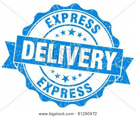 Express Delivery Blue Grunge Seal Isolated On White