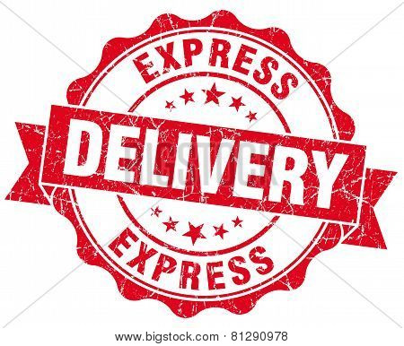 Express Delivery Red Grunge Seal Isolated On White
