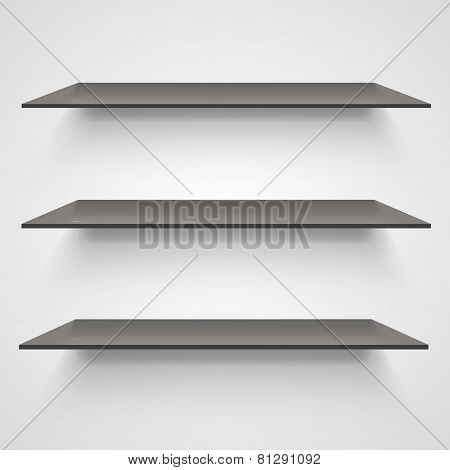 Empty shelves on light grey background.
