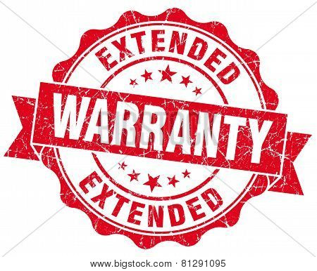 Extended Warranty Red Grunge Seal Isolated On White