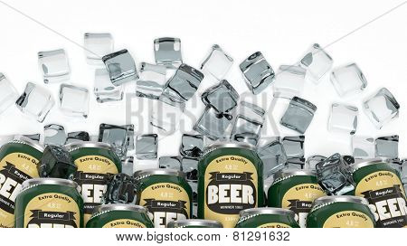 Group of cans with beer in ice cubes isolated on white
