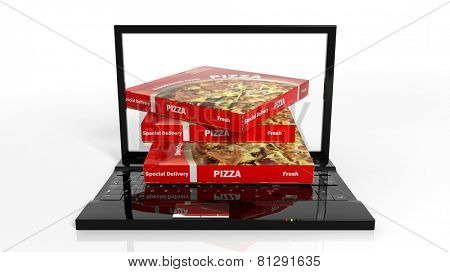 Online pizza delivery concept with laptop and pizza boxes