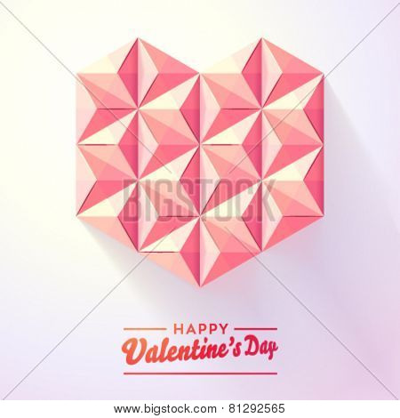 Vector origami heart made of paper pyramids