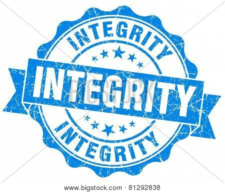 Integrity Blue Grunge Seal Isolated On White