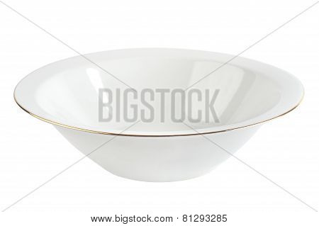 Empty plate with gold rim isolated. White ceramic bowl.