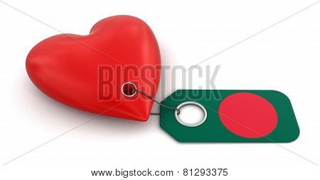 Heart with Bangladesh flag (clipping path included)