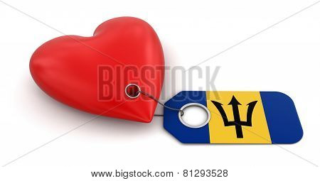 Heart with Barbados flag (clipping path included)