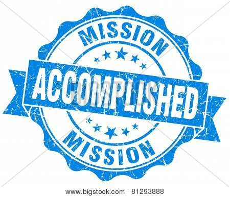 Mission Accomplished Blue Grunge Seal Isolated On White