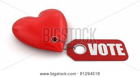 Heart with label vote (clipping path included)