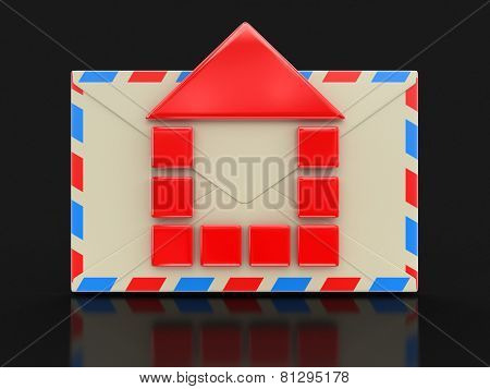 Letter with house (clipping path included)