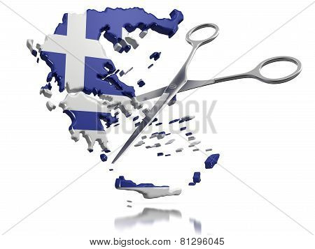 Scissors and Greece (clipping path included)