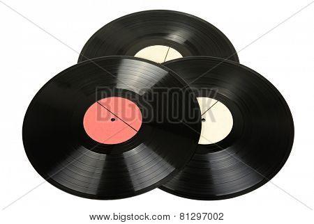 Vinyl discs isolated on white