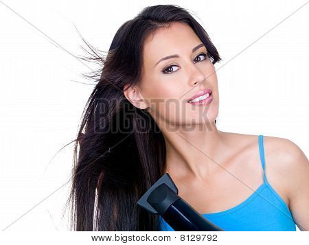 Sensuality Woman Drying Her Hair