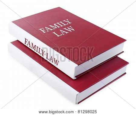 Family LAW books isolated on white
