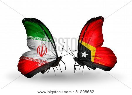 Two Butterflies With Flags On Wings As Symbol Of Relations Iran And East Timor